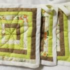 Hot Pads Hand Sewn Quilted Set of Three Green, Ecru and Brown