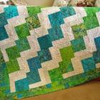 Homemade Quilt Batik Turquoise and Green