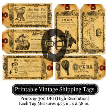 Printable Vintage Shipping Tags- Ads
