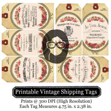 Printable Vintage Shipping Tags- French Labels