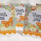 Mini Thank You Cards Blue and Orange with Butterflies Set of 24 Handmade