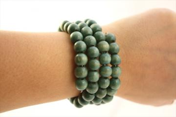 Slinky Bracelet~Sage Green Wood Beads~Boho Chic