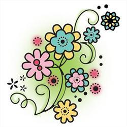 Flower Swirl Clear Stamp - Imaginisce - Lucy Bird