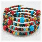 Red, Turquoise and Multicolored Spiral Bracelet