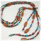 Red, Turquoise and Multicolored Lariat Necklace
