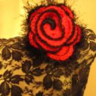 Flower Brooch -Romantic Red Rose Flower Brooch/Pin