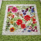 Handmade Quilted Tabletop Garden Flowers Square Table Topper