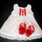  Polka Dot Pinafore and Shoes Doll Set