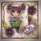 Happy Birthday Cupcake OOAK Handmade Card by ajsdesigns