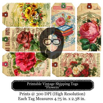 Printable Vintage Shipping Tags- Flowers1