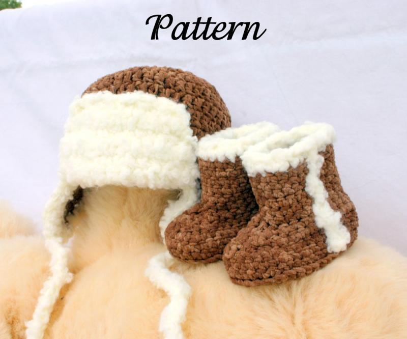 Crochet Newborn Aviator Hat Pattern : Click to Enlarge Image