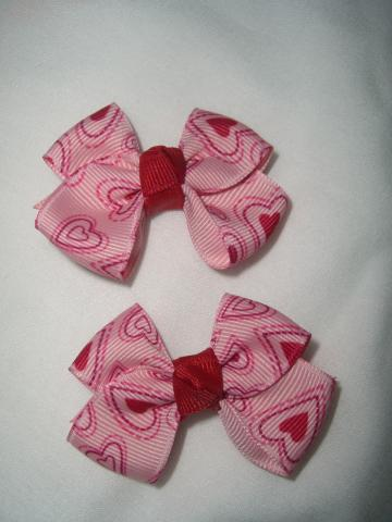 Small Classic Boutique Paisley Hearts Hair Bow Set Valentines Day