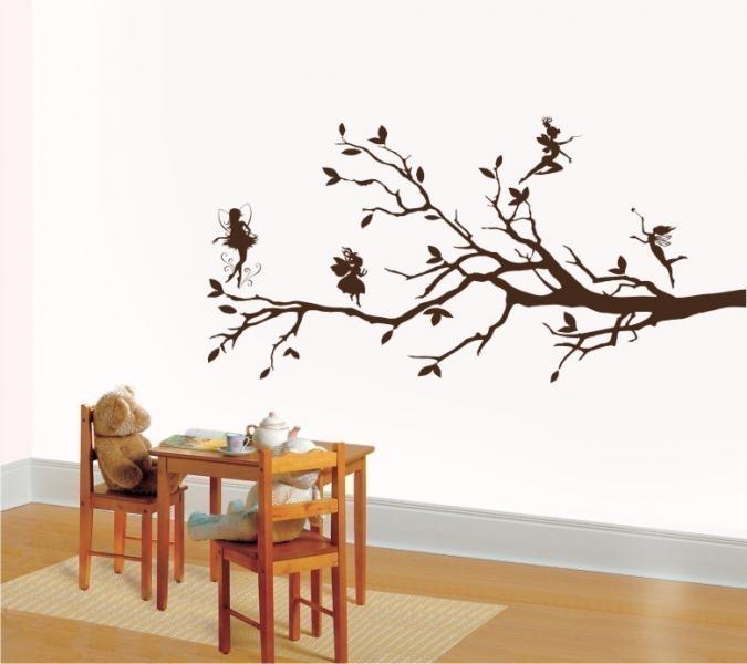 Wall art vinyl decal sticker tree fairies and branch girl kids room