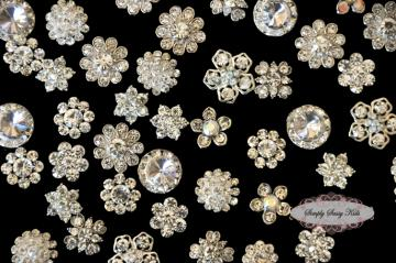 20 Small CLEAR Assorted Rhinestone Embellishment Buttons Flower Centers ~ BACK FOR LIMITED TIME~