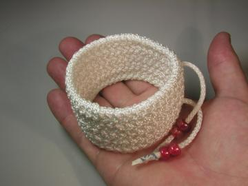 white nylon wide herringbone turks head knot rope bracelet med 199