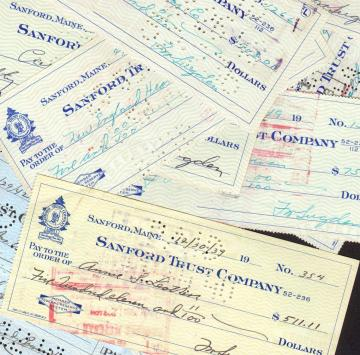 Canceled Checks 1920s to 1940s Vintage Maine Financial Ephemera