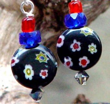 Venetian Millifiori Art Glass Coin Earrings Black and Blues