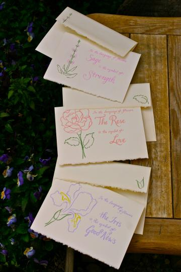 Language of Flowers notecards set of 3