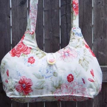 Red Roses Shabby Tote Cottage Style Bag