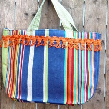 Circus Awning Stripe Fringed Cotton Tote Handcrafted In Maine