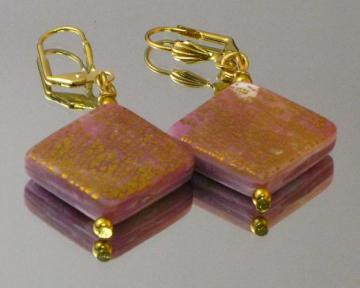 Pink and Translucent, Gold Flecked Earrings