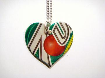 7up Soda Can Heart Necklace