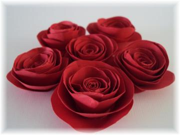 Red Paper Roses embellishments for crafts, scrapbooking, cardmaking, ACEOs, ATCs, collage, altered art. PAPER FLOWERS