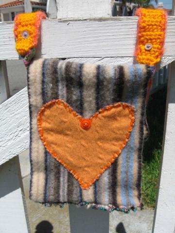 Tangerine Heart Recycled Wool Beaded Pouch
