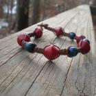 Red 'n Blue hemp bracelet