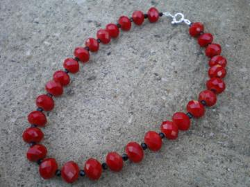 Red Rondelle Necklace Set