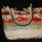 Bag, tote, large, flowers, lined , multicolored