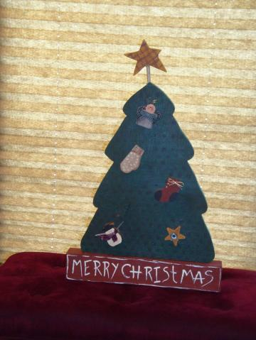 Christmas, tree, wood painted, holiday, folk art