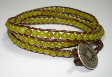 Olive Jade 3 Wrap Leather Bracelet