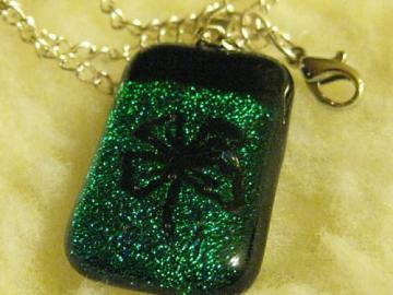 DIchroic etched four leaf clover fused glass necklace in green
