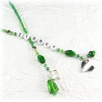 Zibbet Green Beaded Bookmark with Heart Charm
