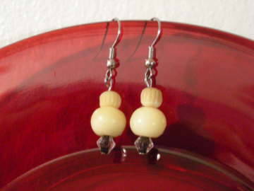 Cream Puff Earrings - (E023)