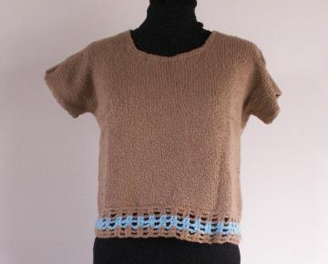 Cotton Short Sleve Sweater, Cashew Brown Boucle, Size Small