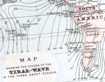1896 World Map Showing Thermal Waves Copper Engraved Map For Framing