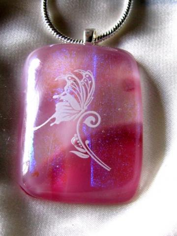 Pink Fused Dichroic Butterfly Necklace, Sterling Silver Chain and Bail