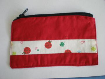 Red Zipper Pouch with Kawaii Ladybugs