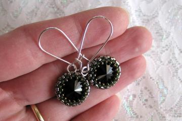 Jet Rivoli Swarovski Crystal beaded earrings