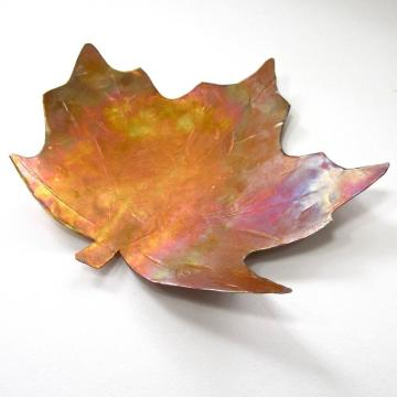 Copper Mini Dish Handmade Maple Leaf