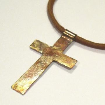 Simple Faith Handmade Copper Cross Necklace Leather Corn