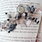 Black Gray and Silver Beaded Angel Wings Bookmark