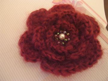 Rosewood Red and Cream Pearls Crochet Brooch