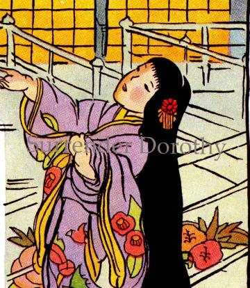 Little Lady Moon Vintage Lithograph And Verse From Japan 1946