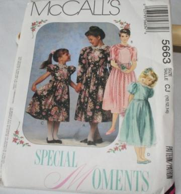 Pattern, little girls dress, McCalls size 7,8,10,  uncut