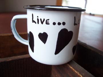 Live...Laugh...Love Much Enamel Cup