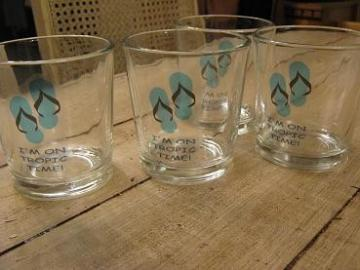 Glasses set of 4 - 8 ounce glasses with custom decal of flip flop sandal