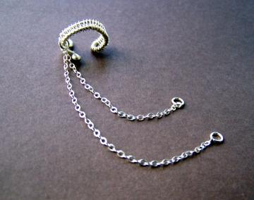 Sterling Silver Ear Cuff with Chain